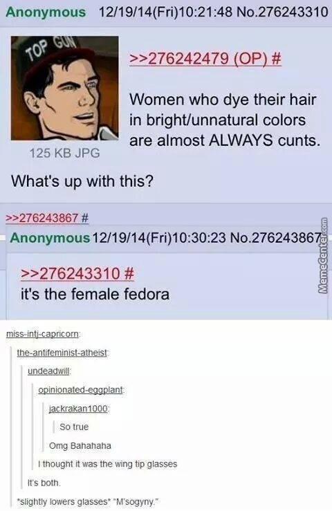 Fedora's And Brightly Died Hair Are The Greatest Tools For Birth Control You Can Get.