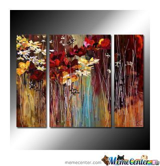 Flowering season oil painting set of 3 free shipping for Set of three canvas paintings