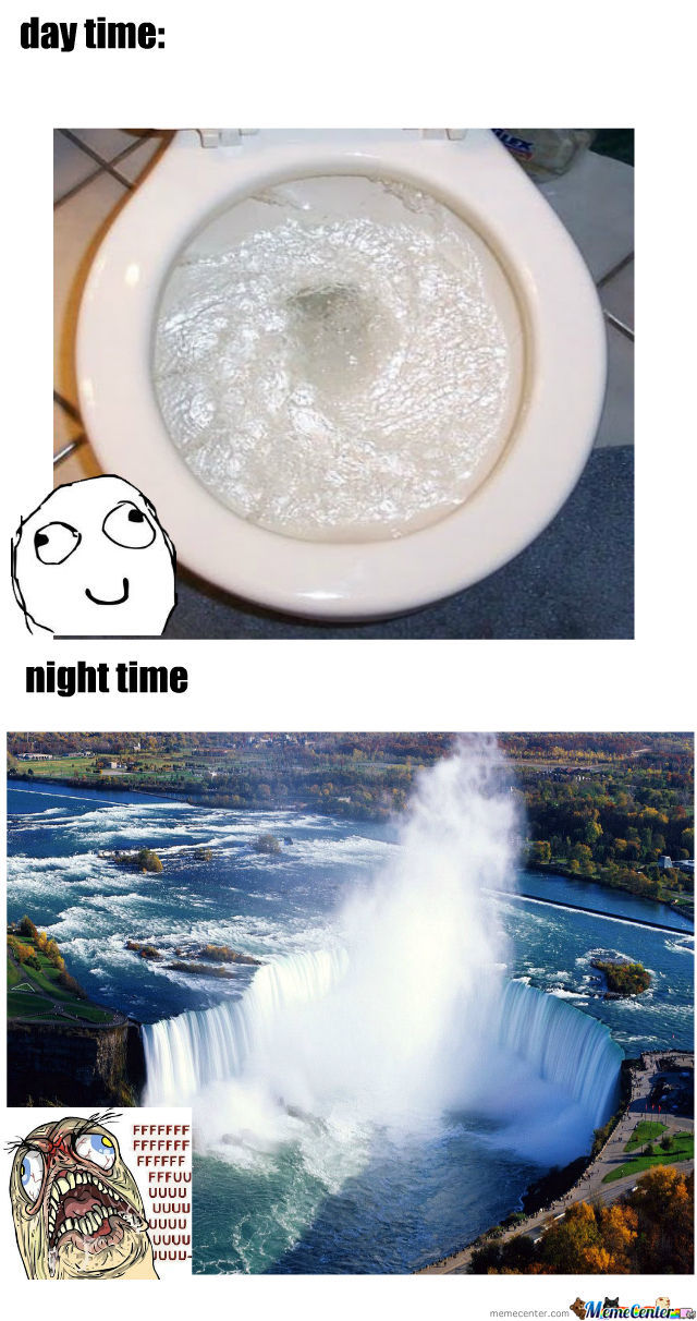 Flushing Toilet At Day Time And  Night Time