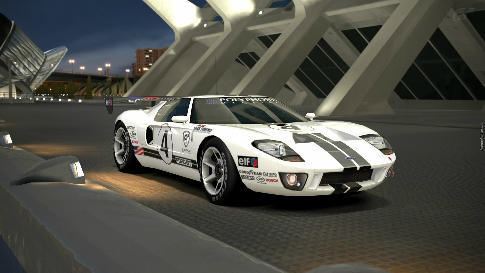 Ford Gt Lm Race Car Spec Ii At The City Of Arts And Sciences At Night