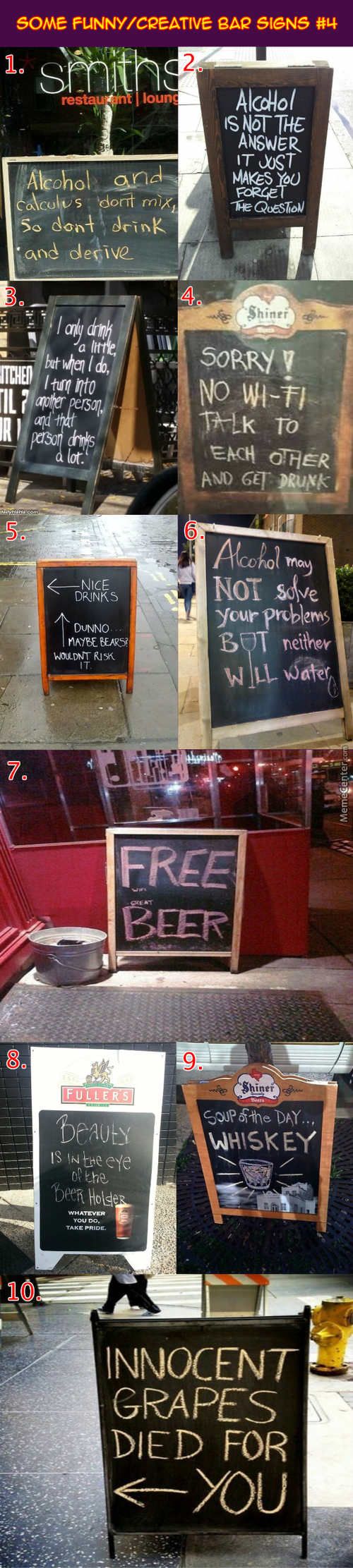 Funny / Creative Bar Signs #4: If The Grapes Had Died For Us, Can It Revive After Three Days?