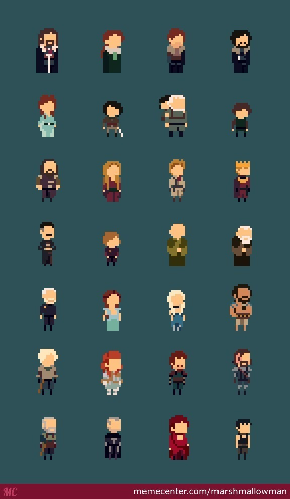 8 Bit Cartoon Characters : Game of thrones characters bit line up by marshmallowman