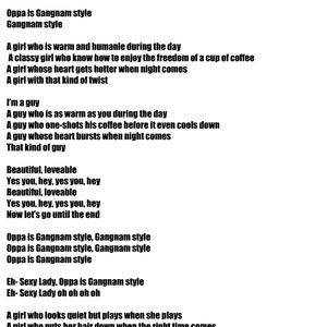 Gangnam Style English Lyrics by samuel1990 - Meme Center