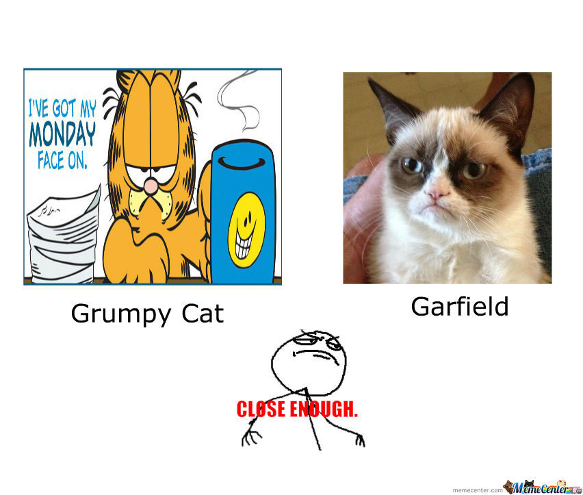 Garfield And The Grumpy Cat Close Enough By Rockmanu14 Meme Center