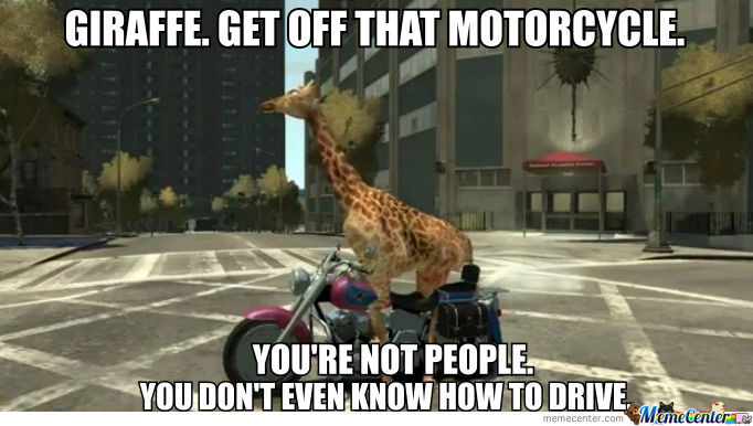 Giraffe. Get Off That Motorcycle.