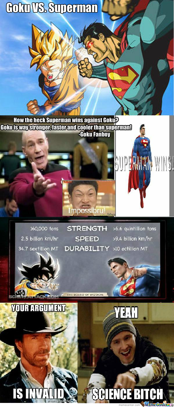 goku vs superman concluded by marz143 meme center