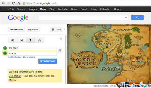 Google Maps Walking Directions, The Shire To Mordor
