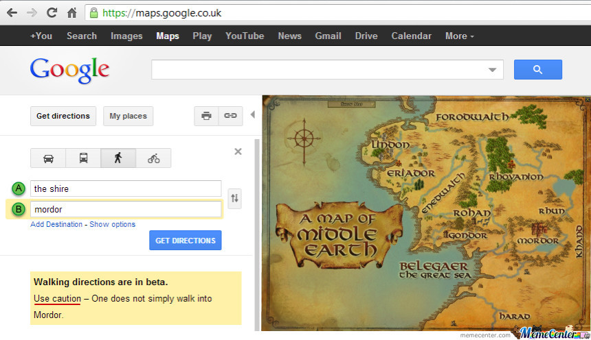 google maps walking directions the shire to mordor