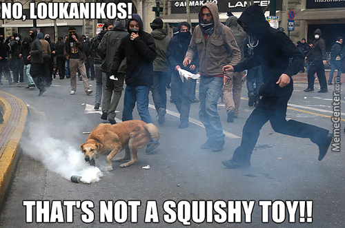 Greece, Even Dogs Riot Now.