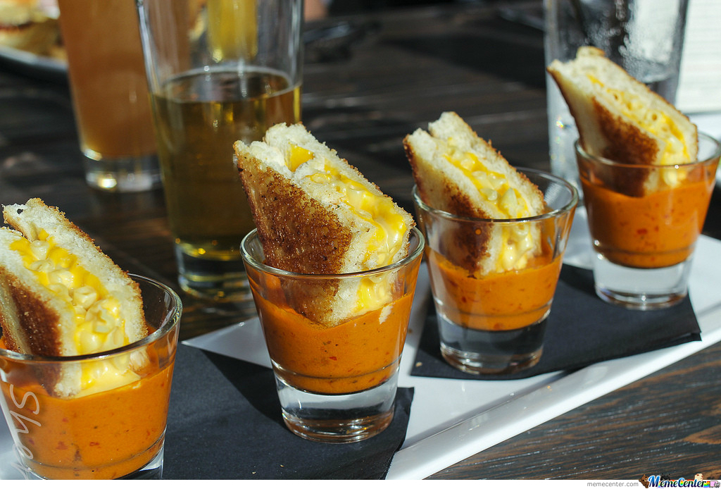 Grilled Mac And Cheese Sandwiches In Tomato Soup Shots ...