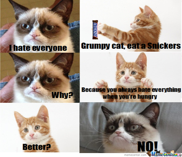 Grumpy Cat Hates Snickers
