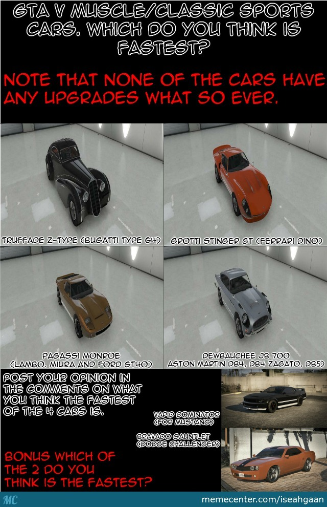 Gta V Muscle Classic Sports Cars By Iseahgaan Meme Center