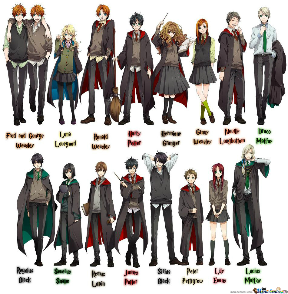 Harry potter characters as anime characters