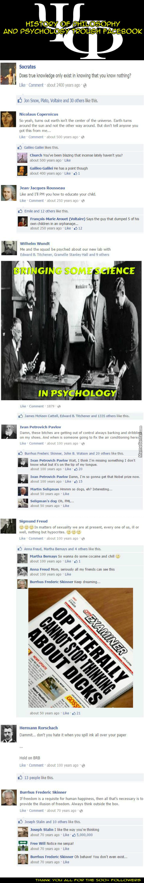 "History Of Philosophy & Psychology Trough Facebook (500+ Followers ""special"")"