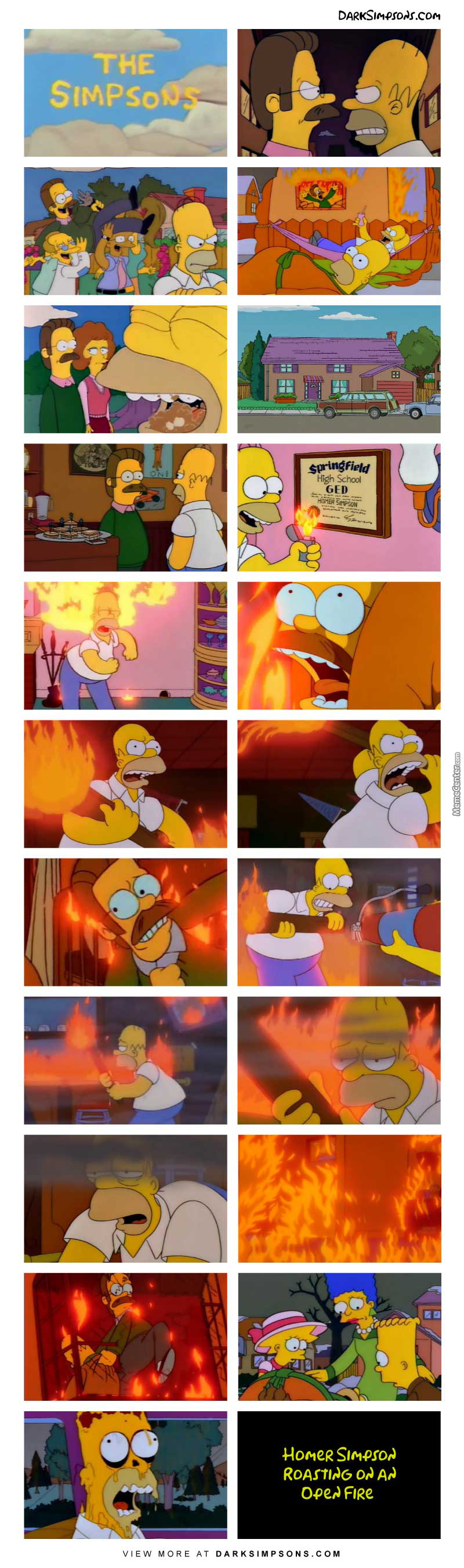 Homer Simpson Roasting On An Open Fire