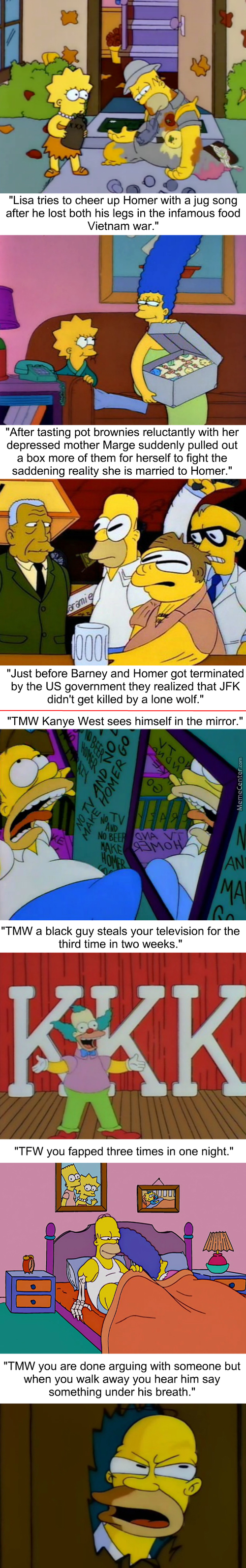 Homerstrips: Krusty Joins A Race Hate Group After Visiting Baltimore For Five Minutes
