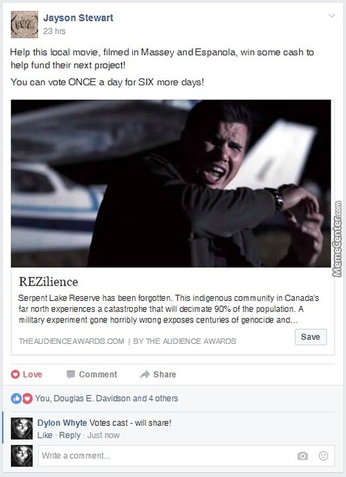 How Often Do You Get To Vote For Canada's First Indigenous Zombie Movie? Plus Watch To End To See My Bloody Skull!