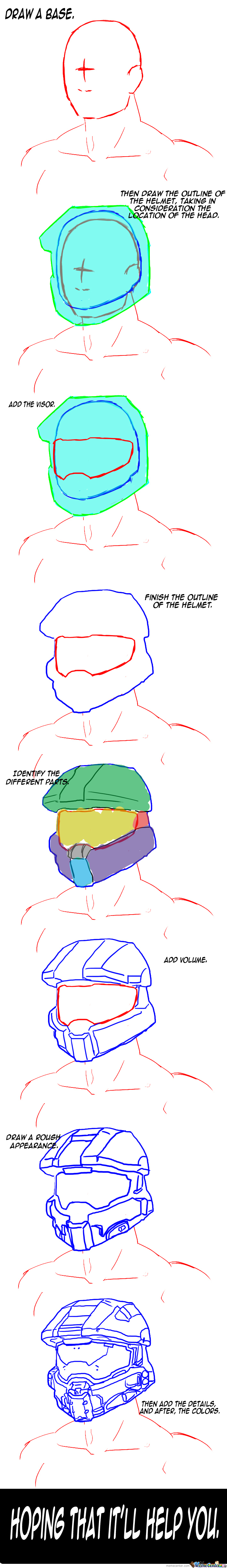 How To Draw A Helmet. (Mjolnir Mk.6 From Halo 4)