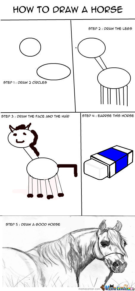 How To Draw A Horse By Recyclebin Meme Center