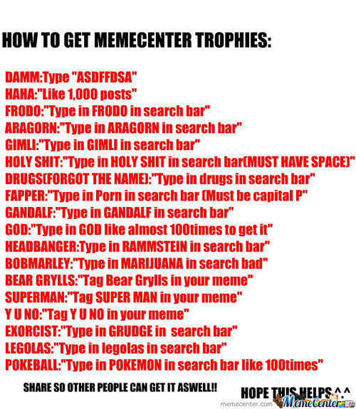 How To Get Memecenter Trohpies*bonus Celebration For Getting Featured*