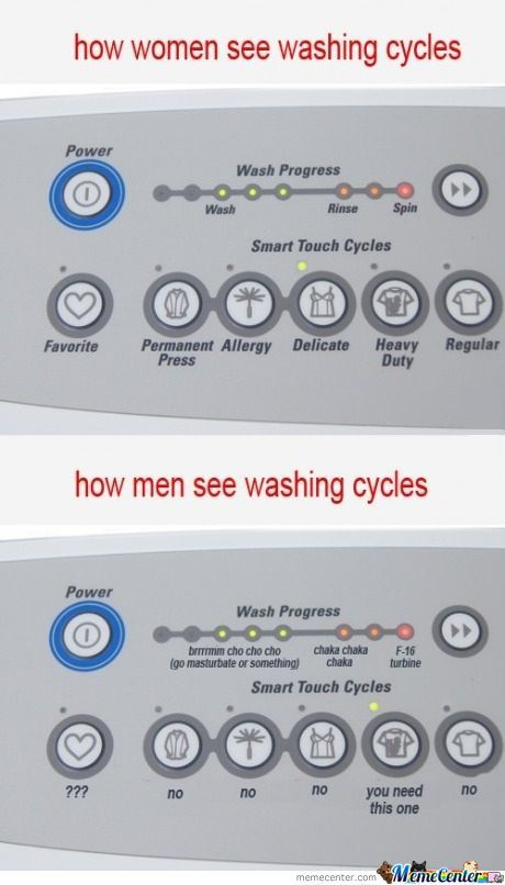 how men see washing cycles
