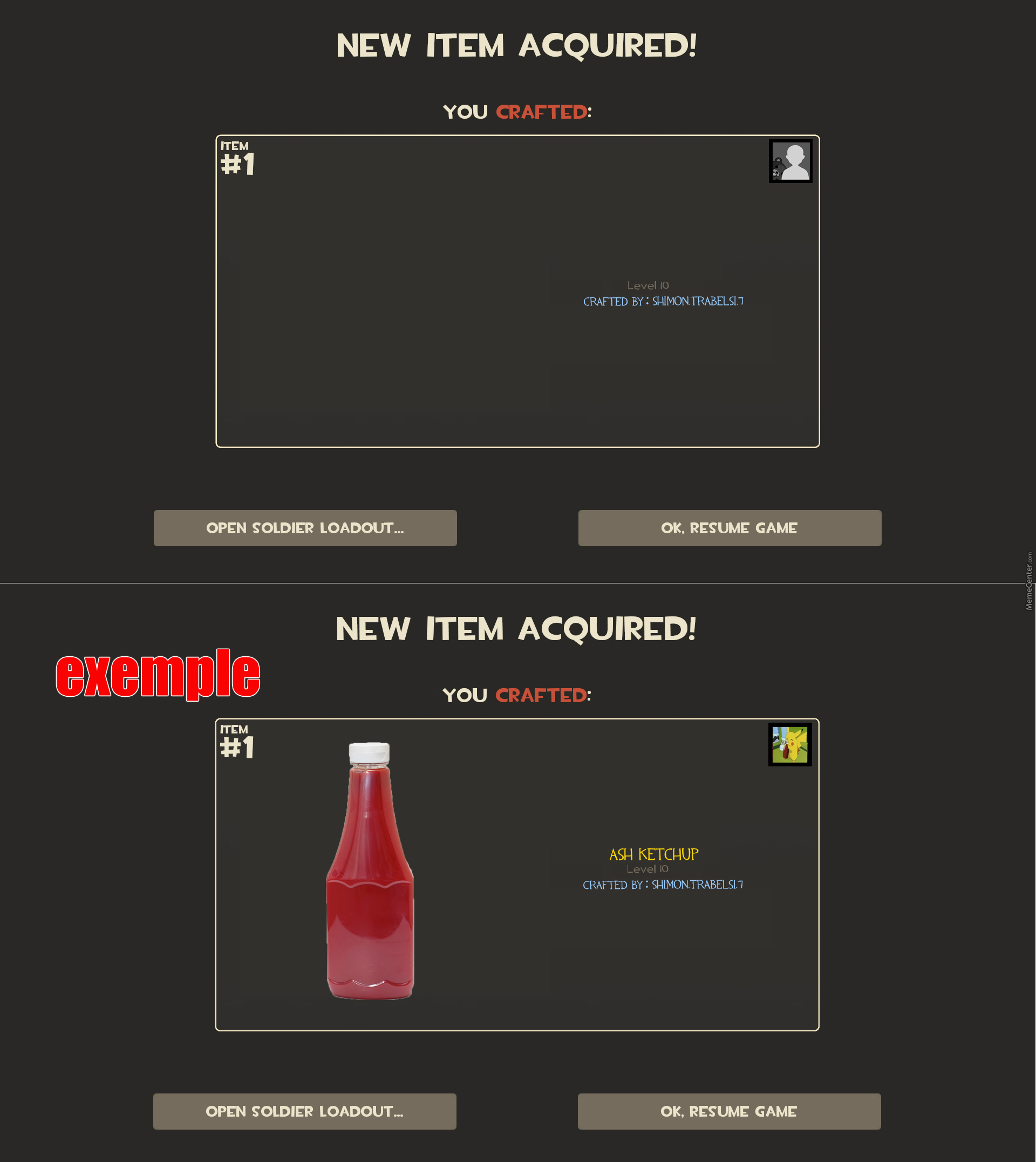 If Mc Was Tf2 New Item Acquired Template Template And Font In The Comments By Shimon Trabelsi 7 Meme Center
