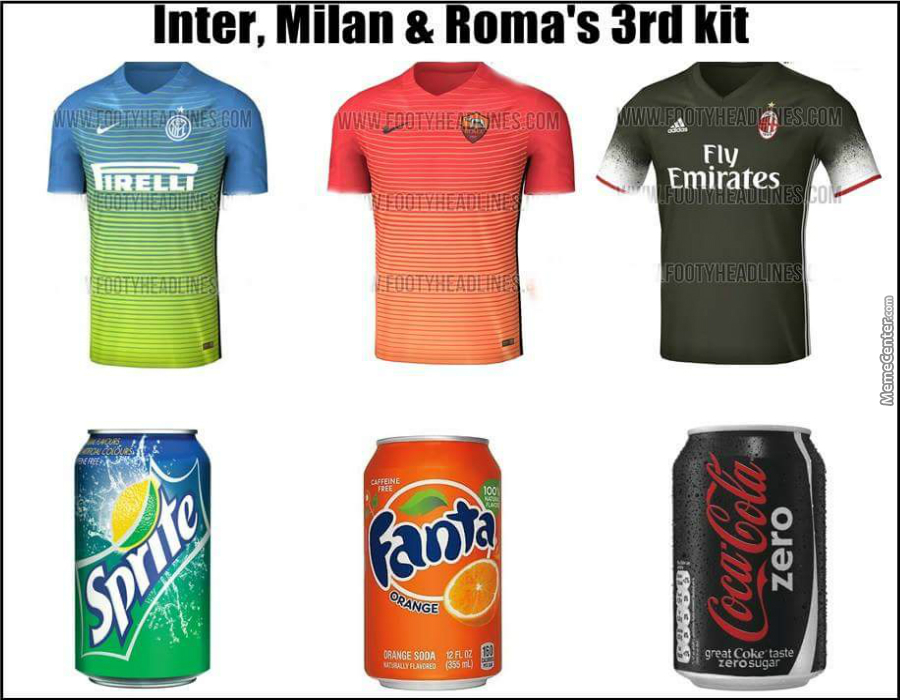 the best attitude 3969e b33d7 Inter Milan,as Roma & Ac Milan Third Kit For 2016-17 by ...