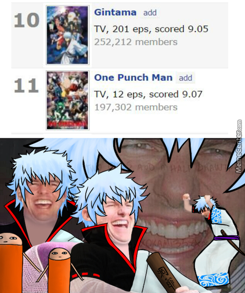 It's Supposed To Be -Higher Score, Lower Rank- But You Can't Beat Gintama :^) (Credit To Some Comment I Found For Bottom Img)