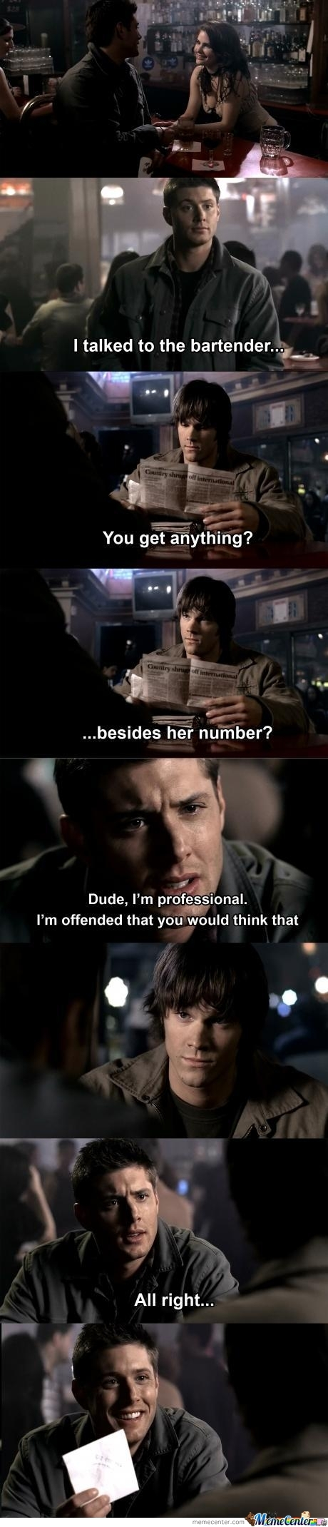 Just Dean Winchester Being... Well, Dean Winchester.