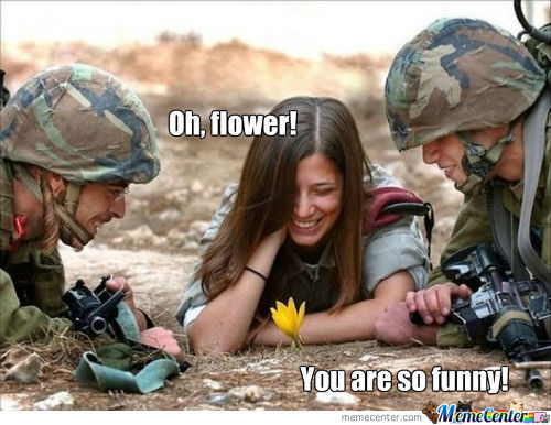 Just Funny Flower, Girl And Soldiers