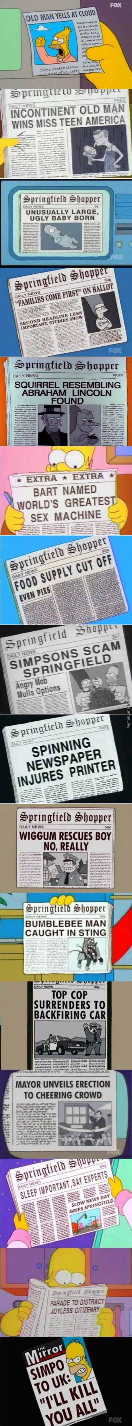 Just Some Simpsons Newspapers