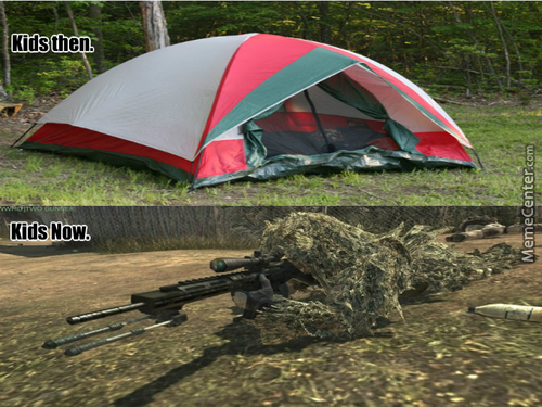 Kids Camping Then And Now