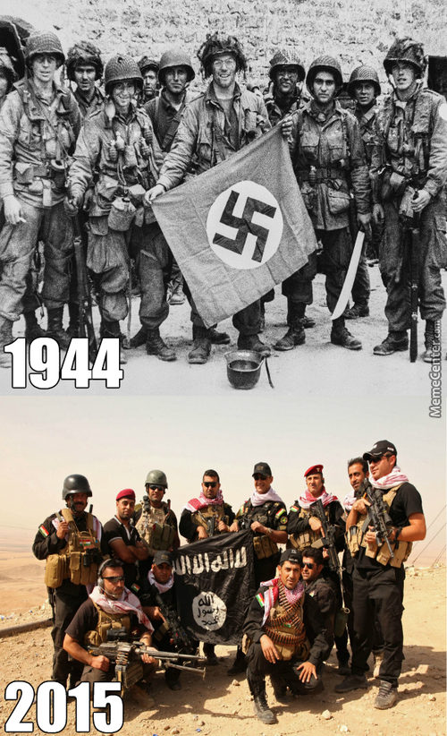 Kurds Posing With A Captured Isis Flag. The Allies Of Ww2 Would Be Proud
