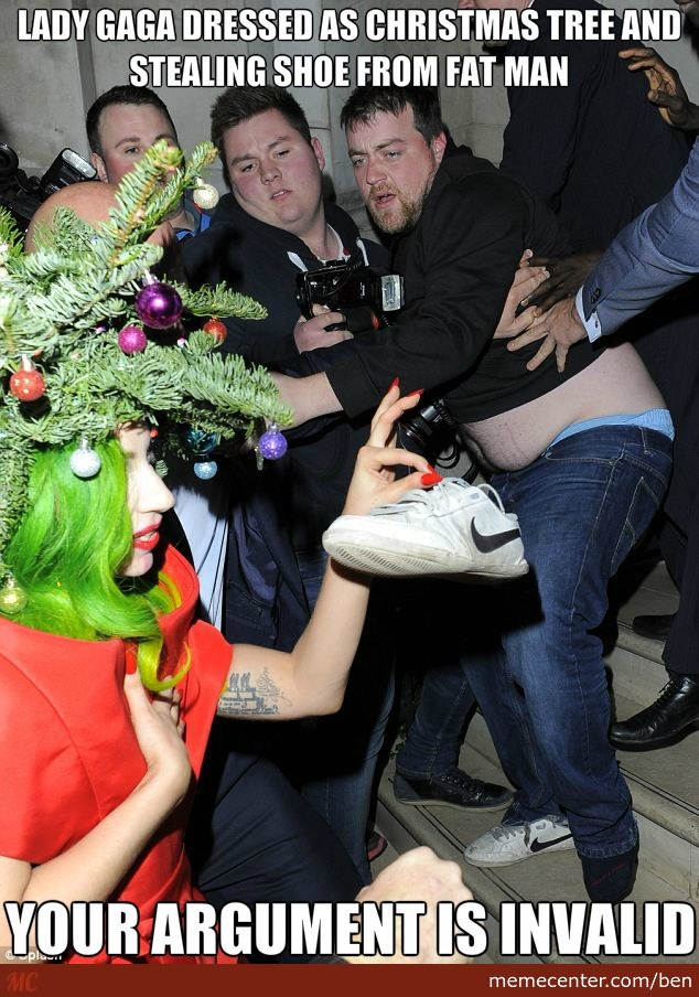 Lady Gaga Dressed As Christmas Tree And Stealing Shoe From Fat Man