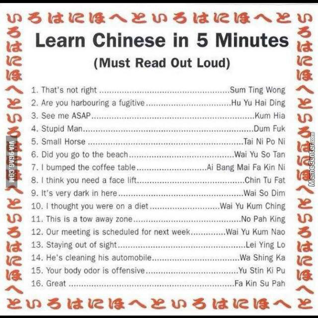 Learn Chinese In 5 Minutes by generikk - Meme Center