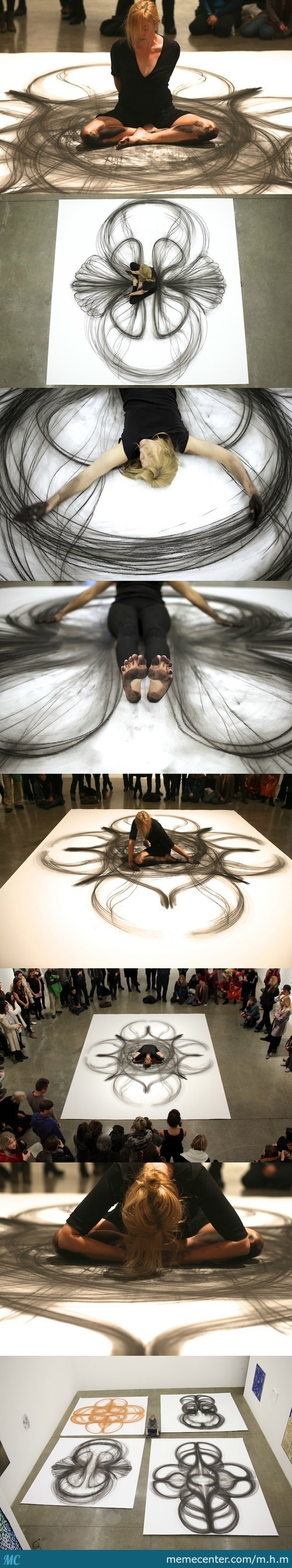 Life-Size Art Using Just Her Body And A Piece Of Charcoal By Artist Heather Hansen