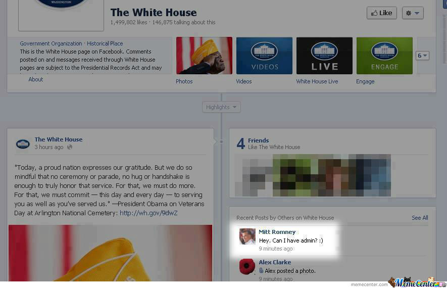 Mitt Romney visits The White House Facebook Page