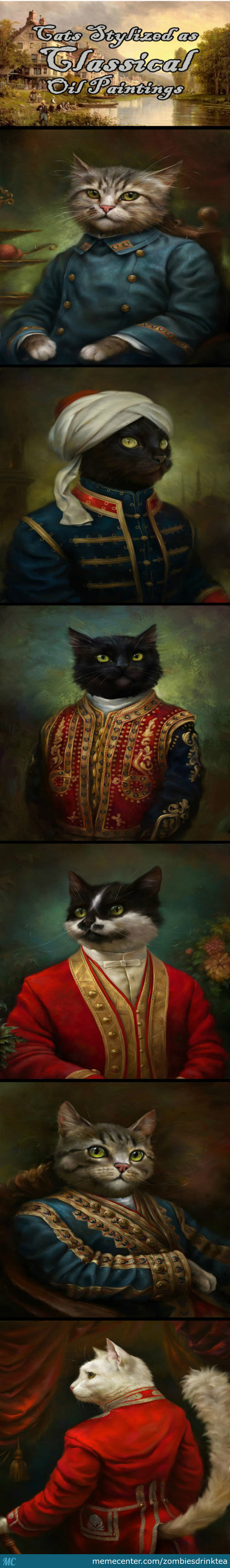 Cats Stylized as Classical Oil Paintings