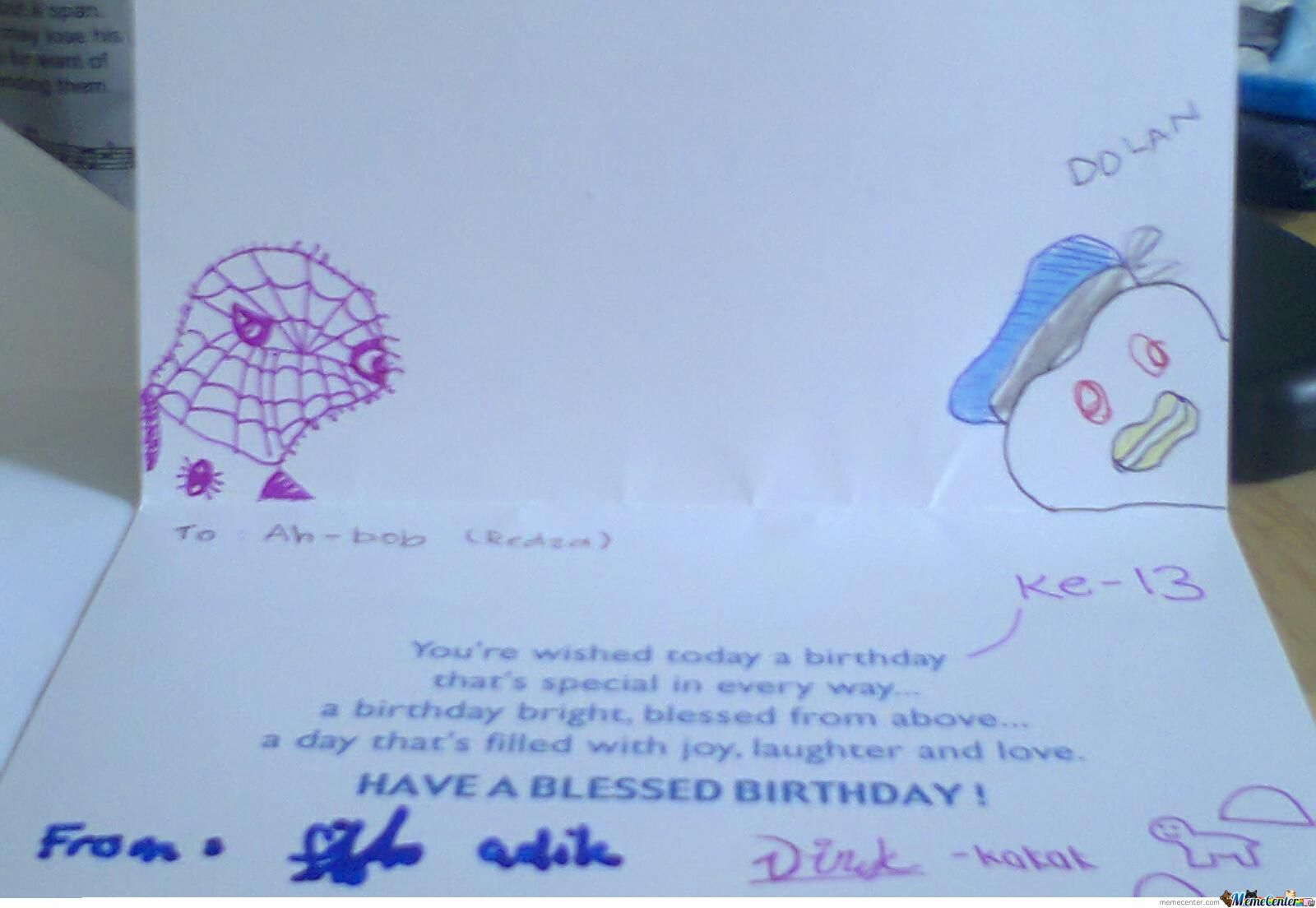 Look What My Sister Draw On My Birthday Card
