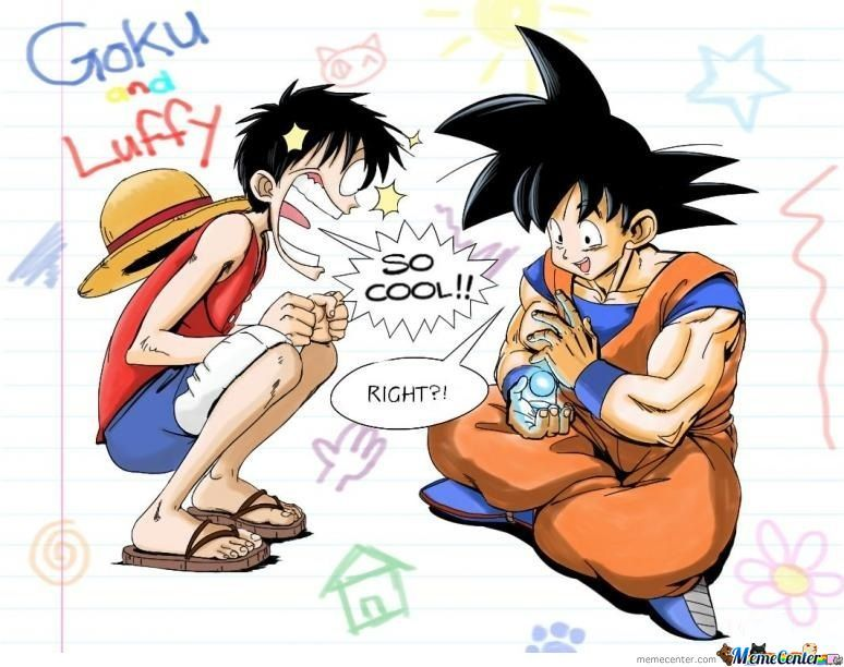 luffy and goku by sergen meme center