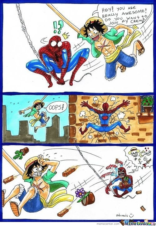 Luffy Meet Spiderman