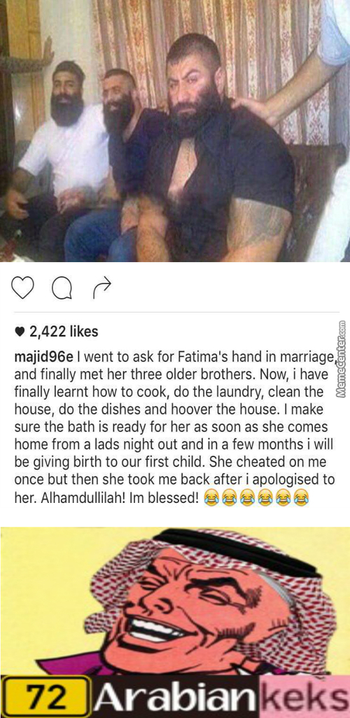 Majid: I'm Going Out To Work Cya Later......... Fatima: Don't Forget Your Hijab Sweaty :v