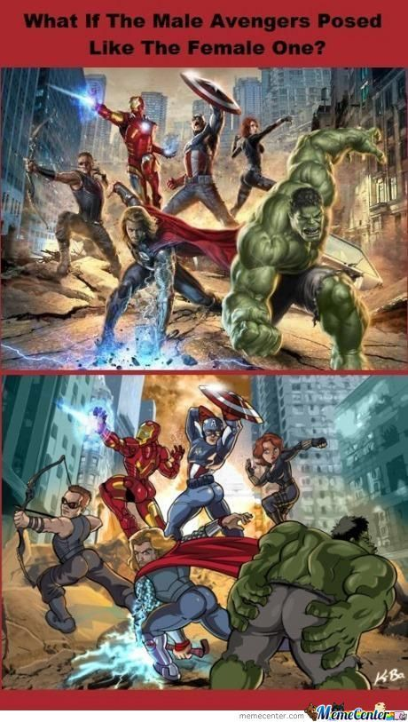 Male Avenger Posed Like The Female Avengers
