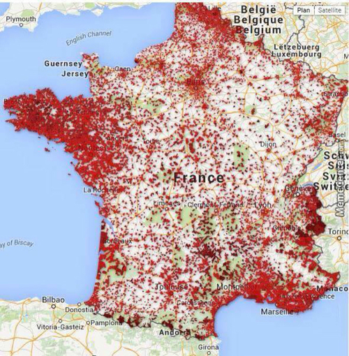 Map Of Bars In France. We're Fucking Alcoholics