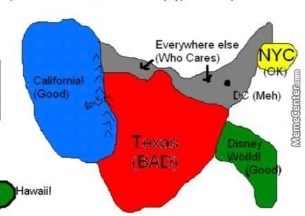 Map Of Texas Meme.Map Of United States Seen By A Typical European By Lost Artist 1998