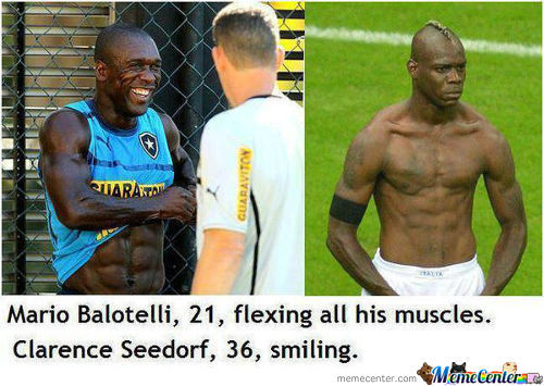Mario Balotelli 21, Flexing His Muscles. Clarence Seedor 36, Just Smiling