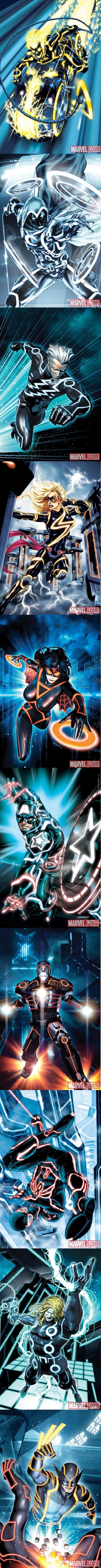 Marvel Heroes Drawn In Tron Style