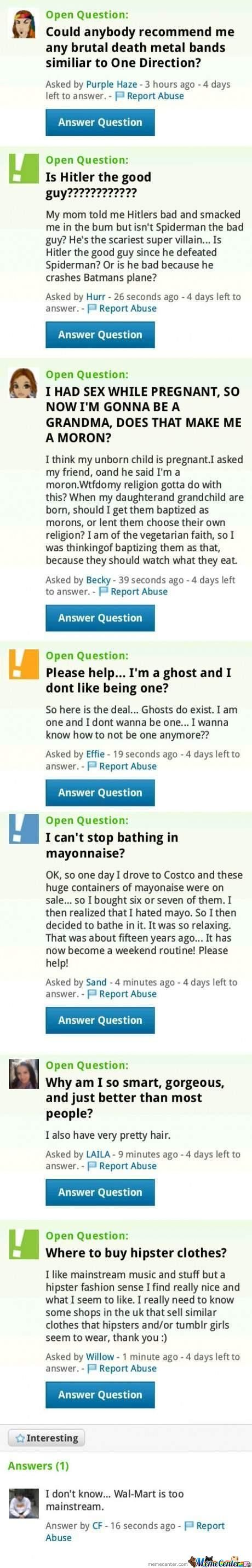 Meanwhile, On Yahoo Answers
