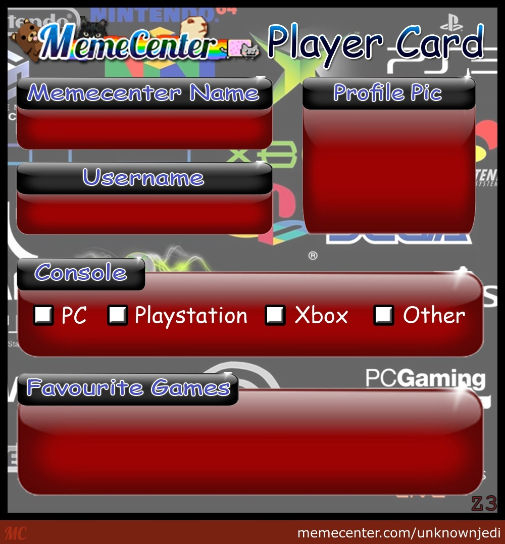 Memecenter Player Card - For People Who Want To Share Their Gaming Info By The User Z3