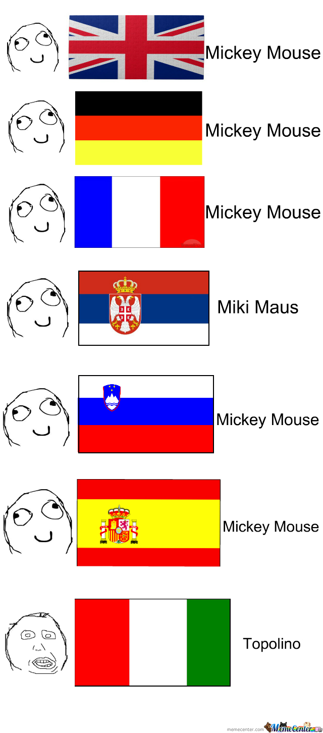 Mickey Mouse In Different Languages